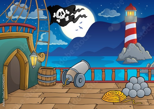 Tuinposter Voor kinderen Pirate ship deck topic 8