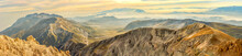 Amazing Panorama Format Of Centenario Mountain At The Sunset Time - Abruzzo Italy, Campo Imperatore