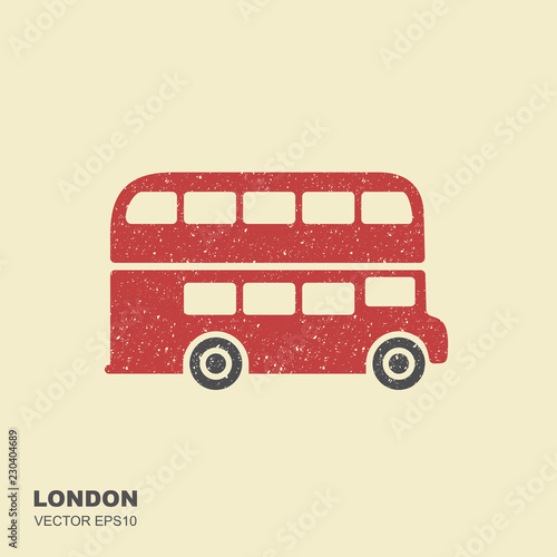 Photo London double-decker flat red bus. Flat icon with scuffed effect