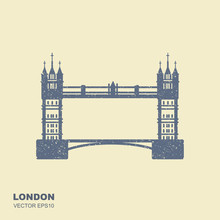 London Bridge Icon. Attraction Of The Capital Of England
