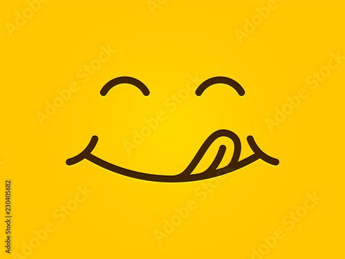Yummy Smile Yellow Background Vector Cartoon Line Emoticon Lick