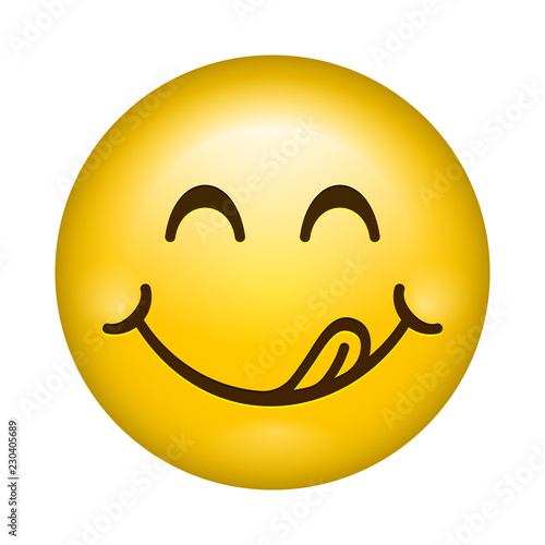Yummy smile vector cartoon line emoticon lick lips with tongue. Delicious tasty eating emoji face isolated icon