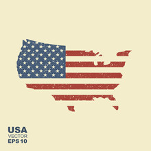 Map Of USA With An Official Flag. Illustration With Scuffed Efeect