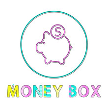 Pig Money Box With Round Coin Vector Illustration
