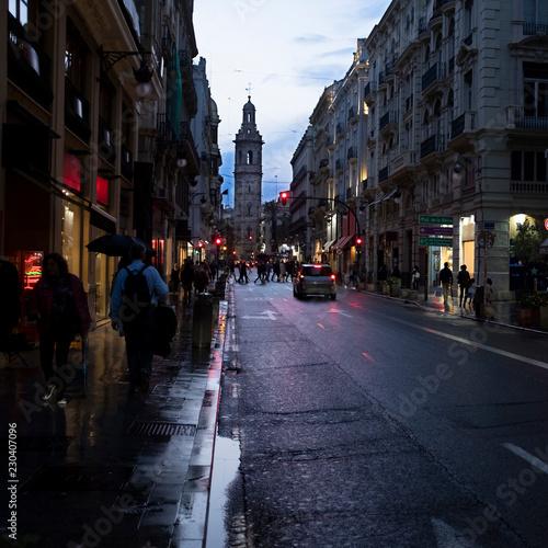 Photo Stands New York Calle de la Paz de noche, Valencia