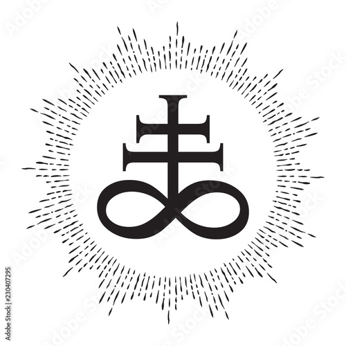 Photo Hand drawn Leviathan Cross alchemical symbol for sulphur, associated with the fire and brimstone of Hell