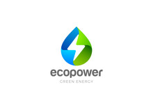 Water Drop Flash Thunderbolt Logo Design Green Energy Vector