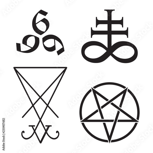 Obraz na plátne  Set of occult symbols Leviathan Cross, pentagram, Lucifer sigil and 666 the number of the beast hand drawn black and white isolated vector illustration