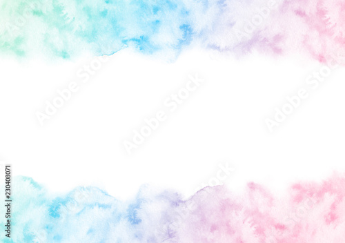 Fotografie, Obraz  Hand painted colorful watercolor texture frame isolated on the white background
