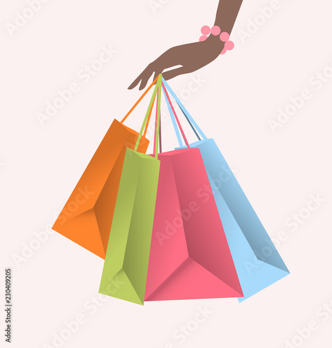 Photo Stands Hand holding colorful shopping bags. Vector illustration. - Illustration