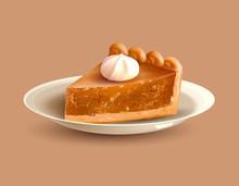Pumpkin Pie On Plate. Traditional Dessert For Thanksgiving Dinner. Vector Illustration.