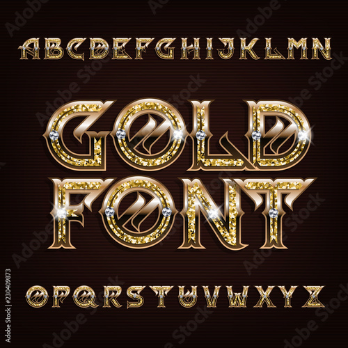 Fotografía  Gold alphabet font