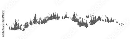 Fényképezés  Horizon line with hand drawn silhouettes of coniferous trees growing on hills or mountains