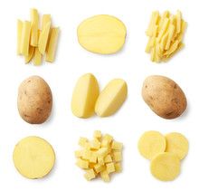 Set Of Fresh Whole And Sliced Potatoes
