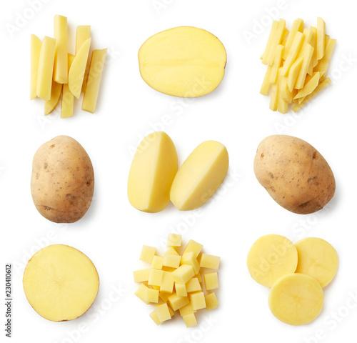Fotografia Set of fresh whole and sliced potatoes