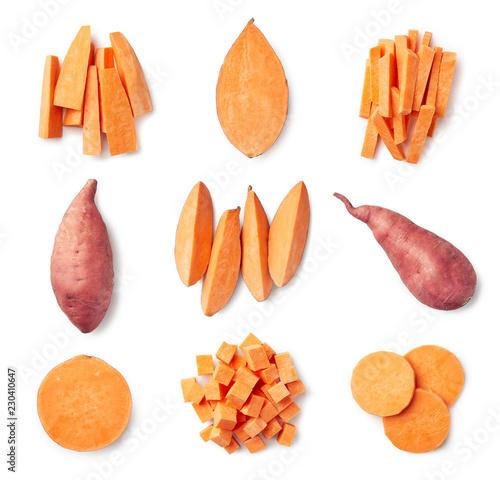 Set of fresh whole and sliced sweet potatoes