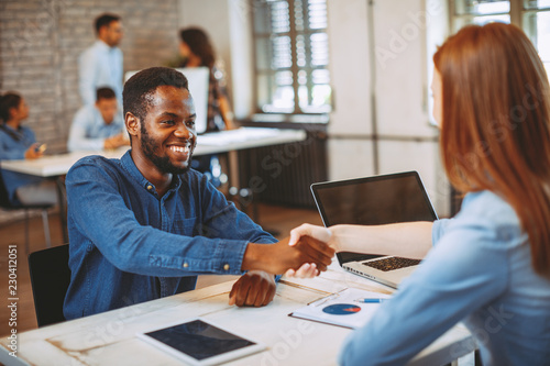 Young black man in a job interview Canvas Print