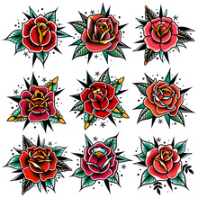 Old School Tattoo Red Roses Wi...