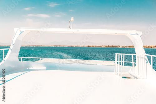 Foto  luxury yacht, stern interior, comfortable design for rest leisure tourism travel