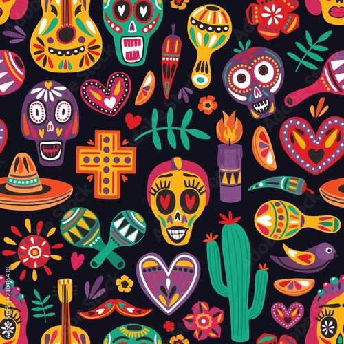 Colored seamless pattern with traditional Dia de los Muertos decorations on black background. Holiday backdrop. Festive flat cartoon vector illustration for ...