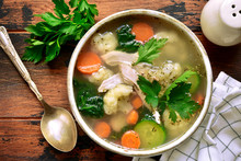 Vegetable Soup With Chicken Fi...