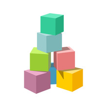 Pastel Colored Block Building Tower. Bricks Vector Illustration On White Background. Blank Cubes For Your Own Design.