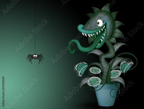 Fotografia illustration of carnivorous plant and spider