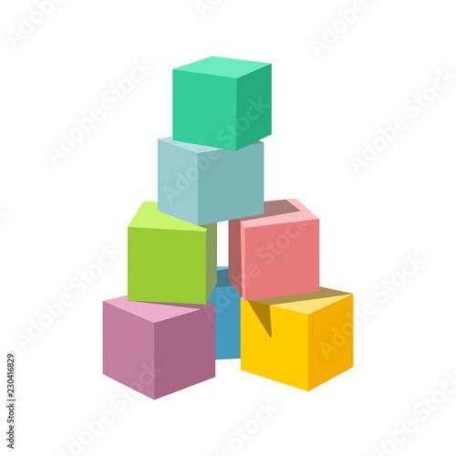 Fototapeta Pastel colored block building tower. Bricks vector illustration on white background. Blank cubes for your own design. obraz