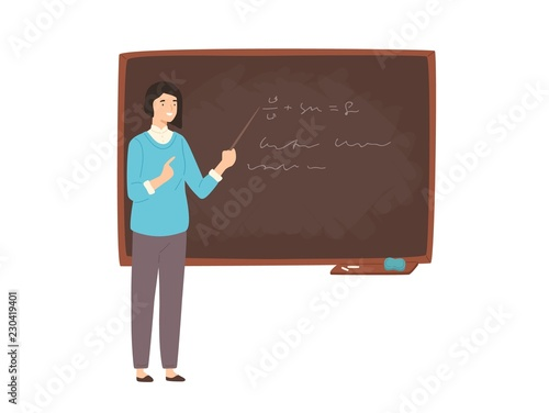 Papel de parede Happy young female college teacher, university professor, lecturer or educational worker standing beside chalkboard, holding pointer and teaching