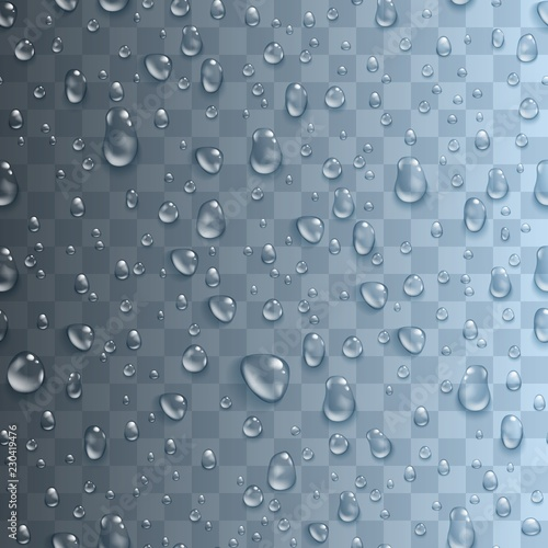 Canvas Print Seamless pattern with realistic transparent water drops
