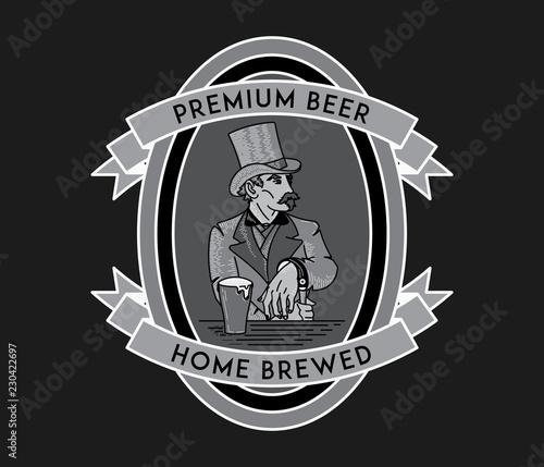 Fotografia Beer lover white on black