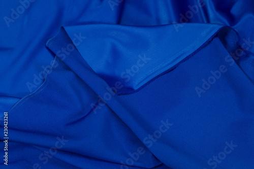 Fotobehang Stof Crepe fabric satin blue