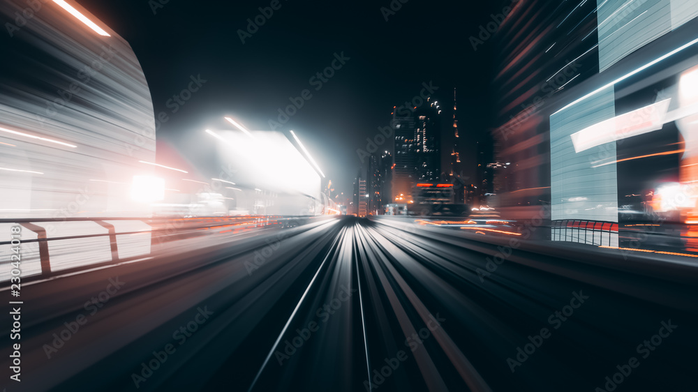 Fototapety, obrazy: View from first railway carriage. Speed motion blur metro abstract background at night