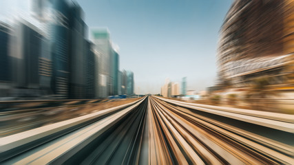 View from first railway carriage. Speed motion blur metro abstract background in the day