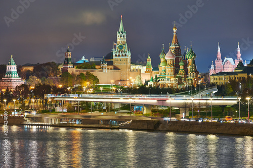Moscow. Kremlin and Saint Basil's Cathedral view in twilight.