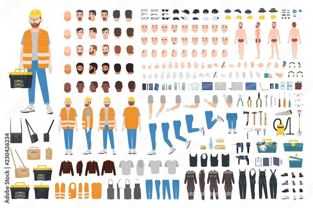 Fototapeta Worker or repairer DIY kit. Collection of male cartoon character body parts, facial expressions, gestures, clothes, working tools isolated on white background. Colorful flat vector illustration.
