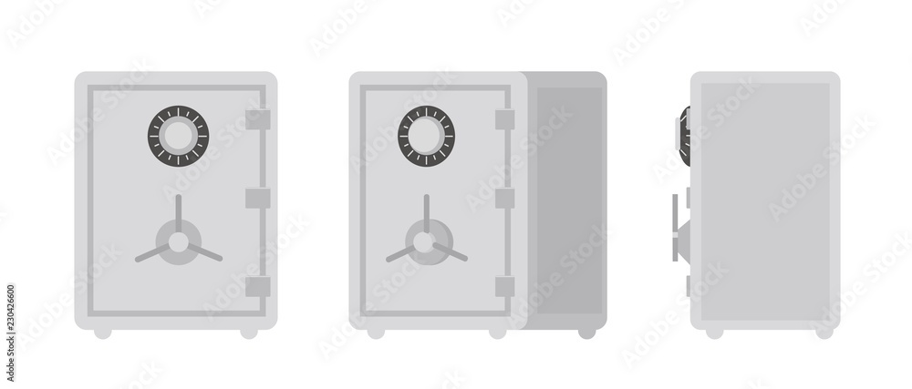 Fototapeta Collection of safe or strongbox isolated on white background, front and side views. Lockable box used for storing and securing money and valuable things. Vector illustration in flat cartoon style.