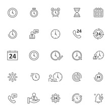 Set Of Time Related Icon With Simple Outline And Editable Stroke