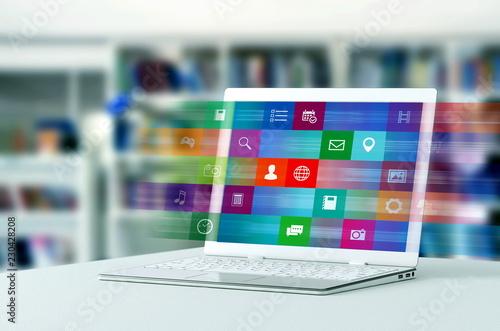 internet application on laptop Canvas Print