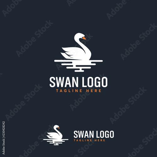 Naklejka premium White Swan on Pixel Water logo designs concept vector, Luxury Swan logo designs