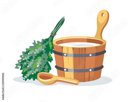 Cuadros en Lienzo Sauna bathhouse objects oak birch broom, pot,  wooden bucket