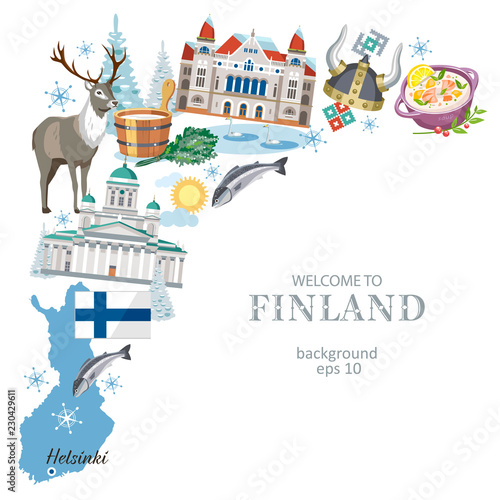 Photo Travel Finland background with traditional symbols of the country, great sights