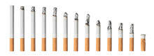 Many Different Stages Of Smoked Cigarette Isolated On White Background