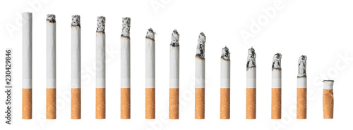 Canvastavla Many different stages of smoked cigarette isolated on white background