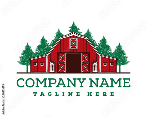 Hand Drawing Vector Red Barn on the Farm Fields with Pine Tree Forest Sign Symbol Icon Logo Template Design Inspiration Wall mural