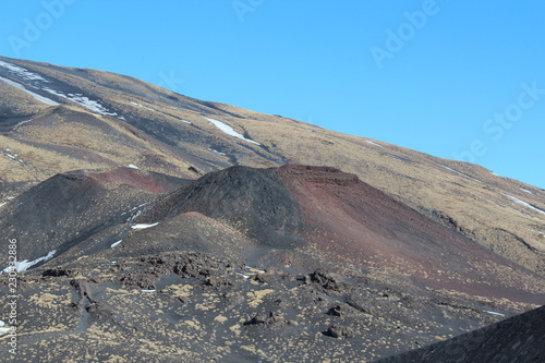 Winter lanscape of Volcanic mountains at Etna, Sicily