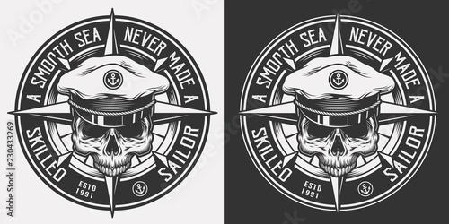 Canvas Print Vintage nautical monochrome emblem