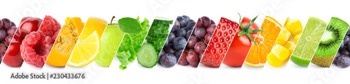 Poster Fruits Mixed of color fruits and vegetables