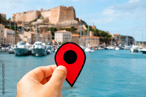 red marker in Bonifacio, Corse, France