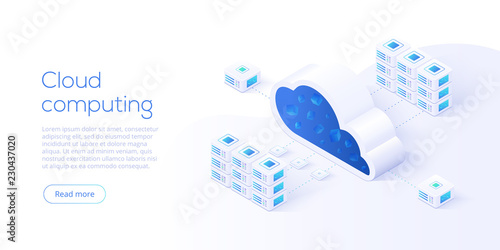 Cloud storage download isometric vector illustration. Digital service or app with data transfering. Online computing technology. 3d servers and datacenter connection network. - fototapety na wymiar
